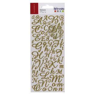 Stickers alphabet & chiffres dorés à paillettes