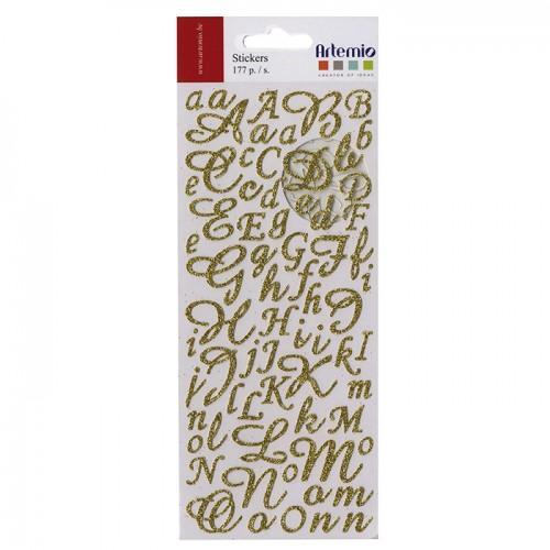 Pegatinas letras y figuras doradas con brillo