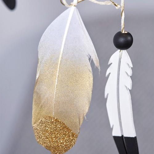 6 plumas doradas con brillo