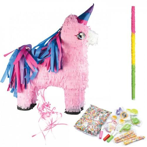 Unicorn piñata + stick + surprises