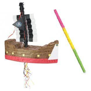 Piñata Bateau de pirate + bâton