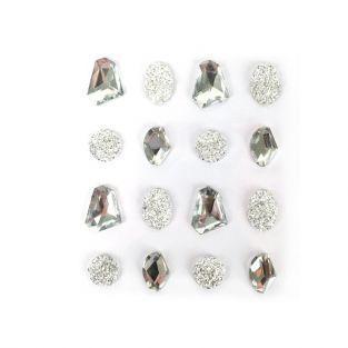 16 pierres précieuses adhésives blanches 20 mm