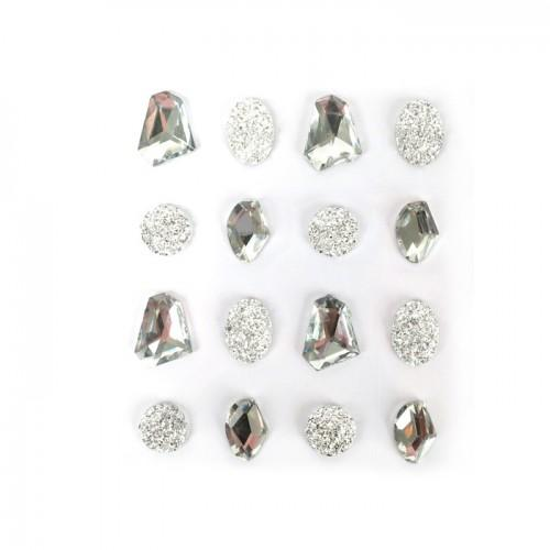 16 adhesive gems 20 mm - white