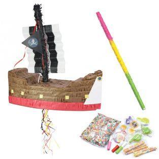 Coffret Piñata Bateau de pirate et ses suprises + bâton