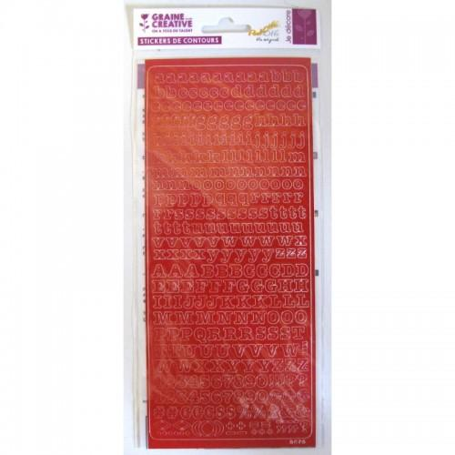 Stickers Alphabet PEEL OFF's rouge 10,5 x 23,2 cm