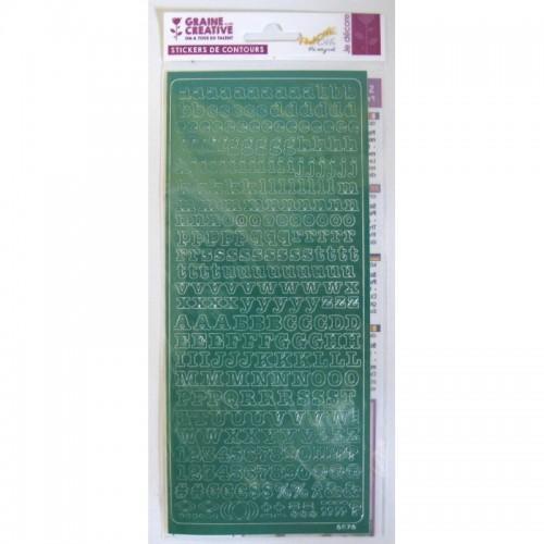 Stickers Alphabet PEEL OFF'S vert 10,5 x 23,2 cm