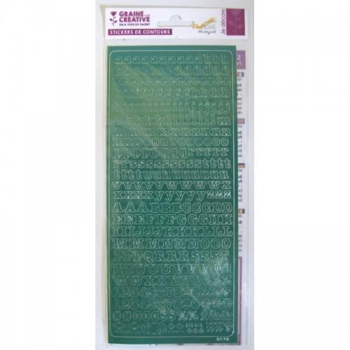 Alphabet stickers PEEL'S OFF 10.5 x 23.2 cm - green