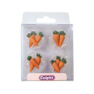 12 decoraciones de azúcar zanahorias desde el jardín