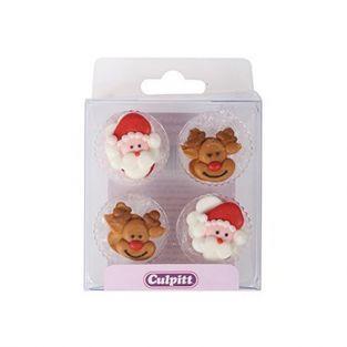 12 décorations en sucre Père Noël & Rudolf le renne
