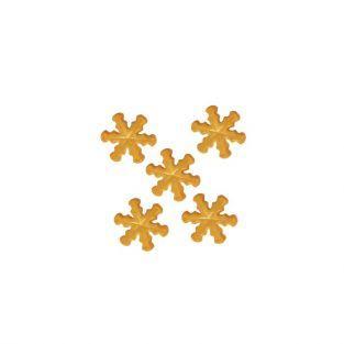 Decoraciones de azúcar copos de nieve dorados