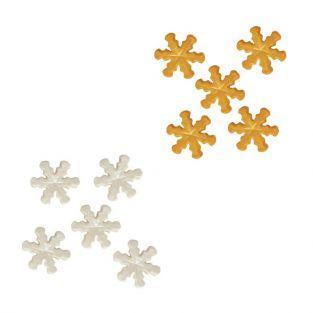 Decoraciones de azúcar copos de nieve blancos y dorados