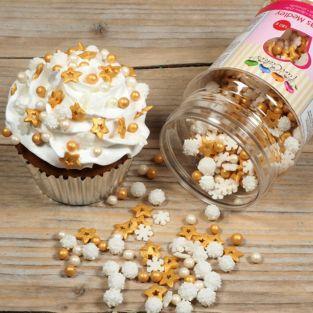 Mix de décorations en sucre Flocons de neige blanc-doré - 180 g