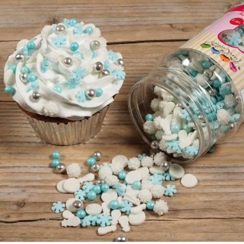 Mezclar decoraciones de azúcar copos de nieve azul, blanco y plata - 180 gr