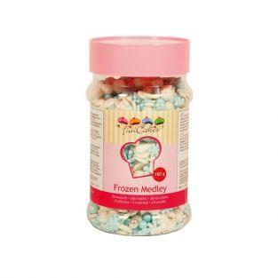 Mix de décorations en sucre Flocons de neige bleu-blanc-argent - 180 g