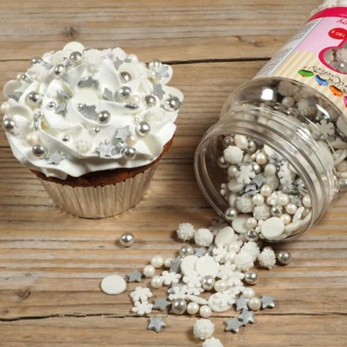 Mezclar decoraciones de azúcar copos de nieve blanco y plata - 180 gr