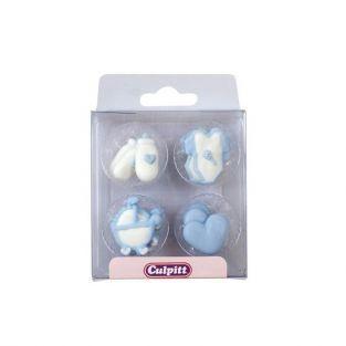 12 décorations en sucre naissance / babyshower - bleu