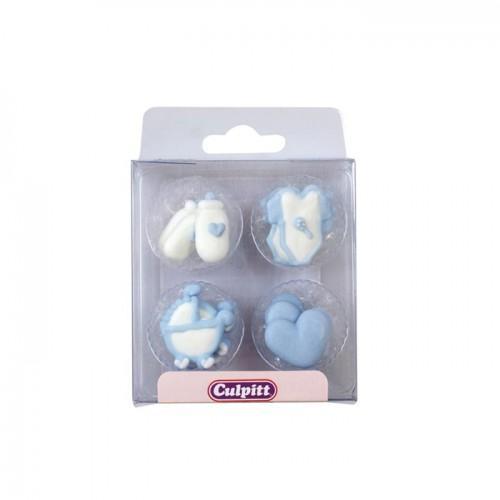 Sugar Decorations Baby Pipings Blue