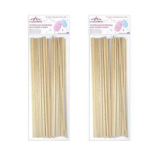 Palitos de madera reutilizables para algodón de azúcar x 50
