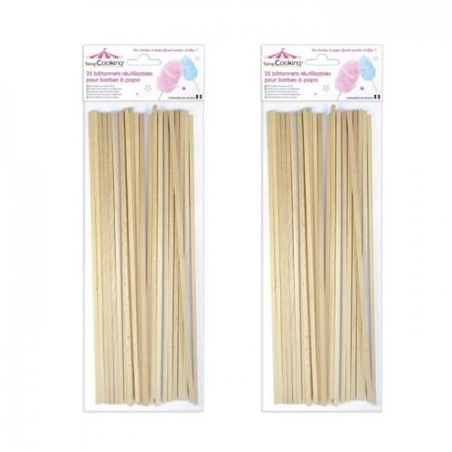 Reusable wooden sticks for candy floss x 50