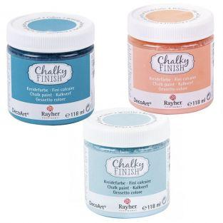 Peinture craie Chalky Finish 118 ml x 3 - bleu-orange-bleu/gris