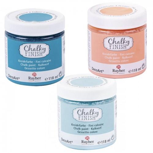 Pintura tiza Chalky Finish 118 ml x 3 colores - azul, naranja, azul-gris