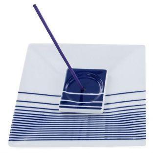 Porta-incienso cuadrado con rayas azules