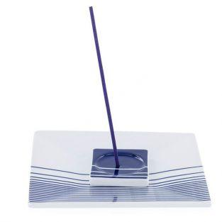 Square Incense holder with blue stripes