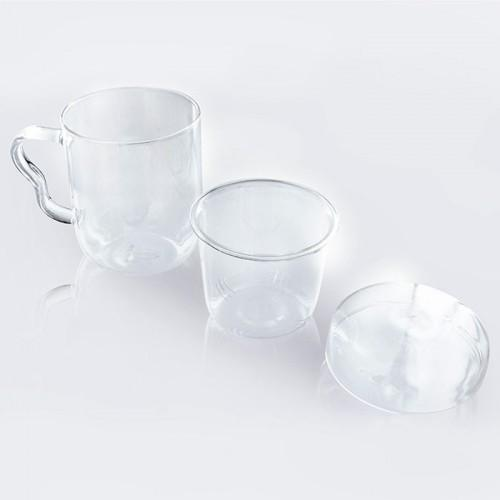 Taza de té con asa, tapa y infusor - Cristal