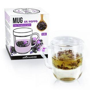 Tea mug with handle, infuser and lid - glass