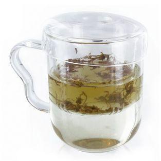 Tea mug with handle, infuser and lid - glass