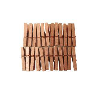 Mini pinces à linge bois 3 cm - Cuivrées