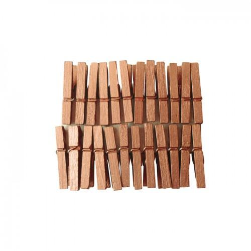 Mini wooden clothespins 3 cm - Copper