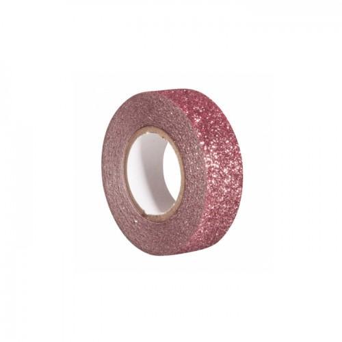 Glitter tape 5 m x 1,5 cm - vieux rose