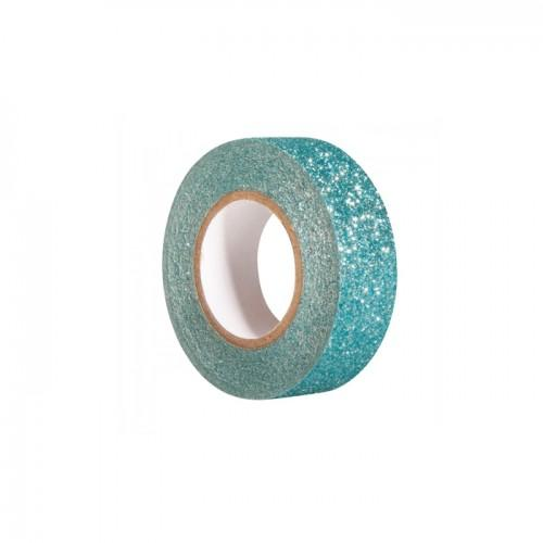 Glitter tape 5 m x 1,5 cm - bleu lagon