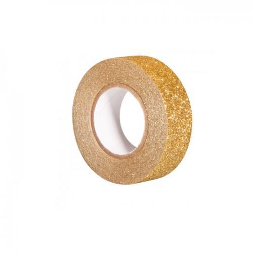 Cinta adhesiva con brillo 5 m x 1,5 cm - oro