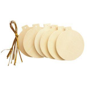 Boules de Noël en bois plates à suspendre 6 cm