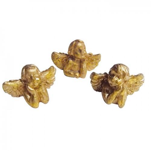 Golden resin Angels figurines 2 cm x 6