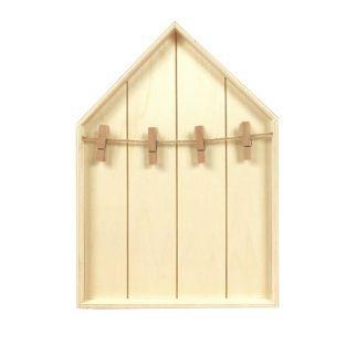 Estante Casa 19 x 28 cm con pinzas de madera