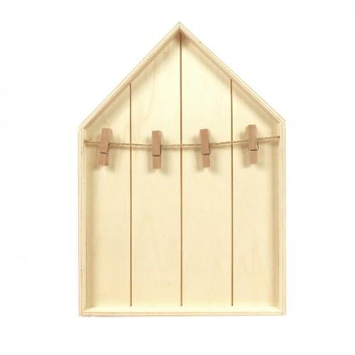Etagère maison en bois avec pinces à linge 19 x 28 cm