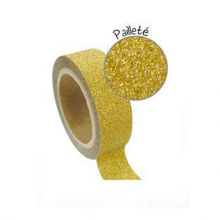 Cinta adhesiva con brillo 1,5 cm x 5 m - dorado