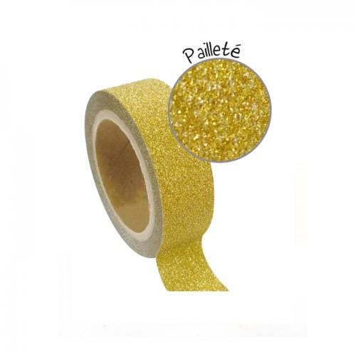 Masking tape with glitter 1,5 cm x 5 m - Gold
