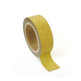 Masking tape à paillettes 1,5 cm x 5 m - Doré