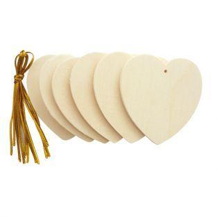 Coeurs en bois à suspendre 6 cm