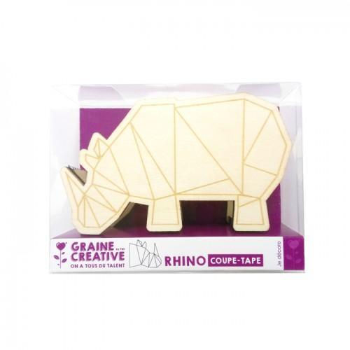 Dévidoir à scotch Rhinocéros en bois 11 cm