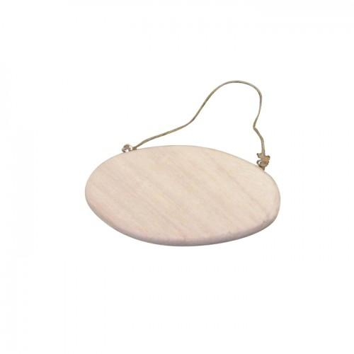 Wood door plate with cord - 14,5 cm