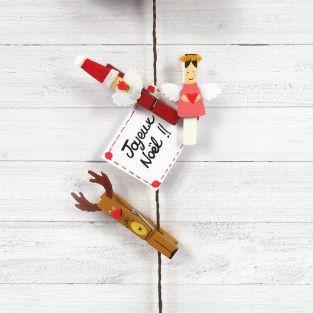 5 wooden clothespins 6 cm - Reindeer