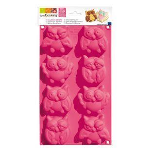 Moule à gâteaux 8 chouettes - silicone