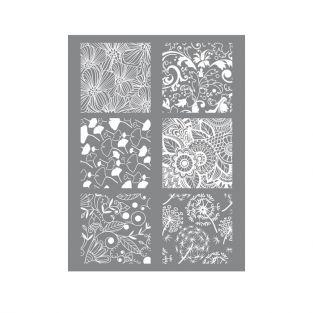 Pochoir pâte polymère floral 11,4 x 15,3 cm