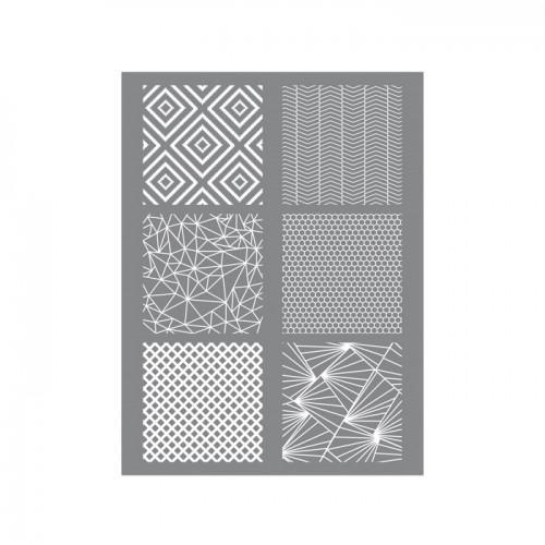 Pochoir pâte polymère geometrique 11,4 x 15,3 cm