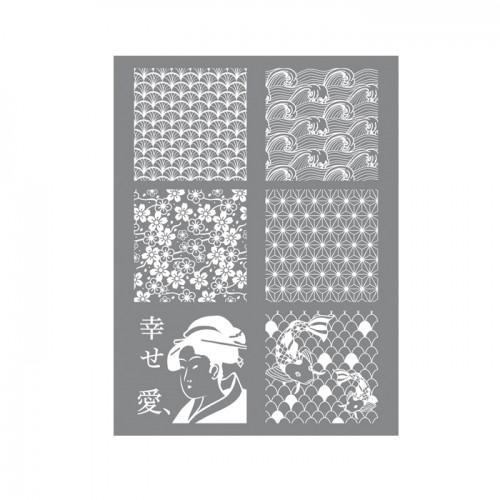 Esténcil para arcilla polimérica 11,4 x 15,3 cm - Japón